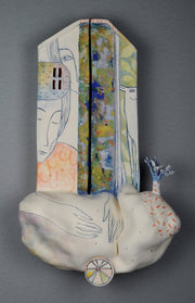 Two But Not Two II, 2020, handbuilt ceramic wall sculpture, 18 x 11 x 4 inches. Multi-fired stoneware finished with underglazes and glazes.