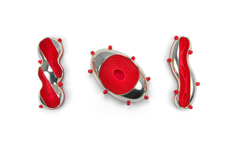 Spirillium: Red,  Sterling Silver Slice Brooch with 3D-printed nylon, 8 x 3 x 1.5 cm, 2020. Photo by Paul Ambtman
