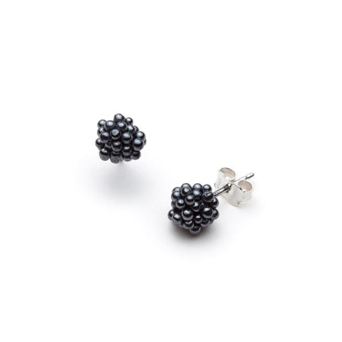 Oxidized sterling silver stud earrings from the ShikShok Series.
