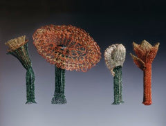On Being Female brooches with coloured copper wire, copper, brass, spandex and tampons by Barbara Stutman.