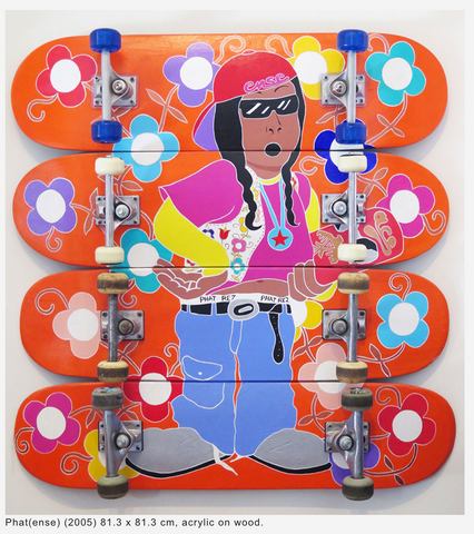 Phat(ense)  (2005)  81.3 x 81.3 cm  acrylic on skateboards