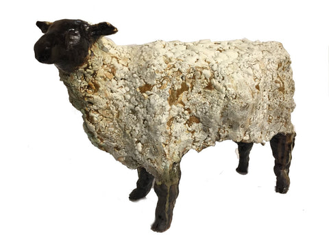 White Sheep. Erin Robertson creates her own glazes for her remarkably textured ceramic sculptures.  17 x 7 x 11""