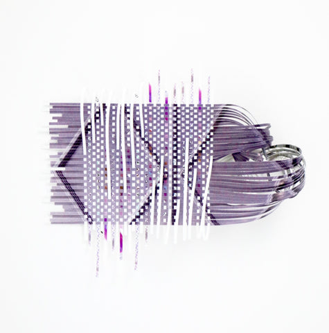 "Purple Rain.  Woven paper sculpture in a custom white shadow box.  Small in scale, 7.5 x 7.5""this artwork has visual strength from close up or at a further distance."
