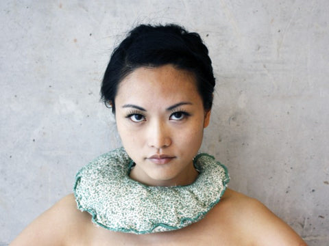 Fields neck piece in canvas, beading and leather by contemporary Canadian jewellery artist Rebecca Horwitz.
