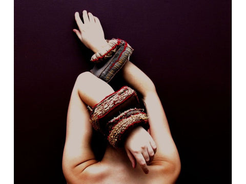 Fabric cuffs by contemporary Canadian jewellery artist Rebecca Horwitz