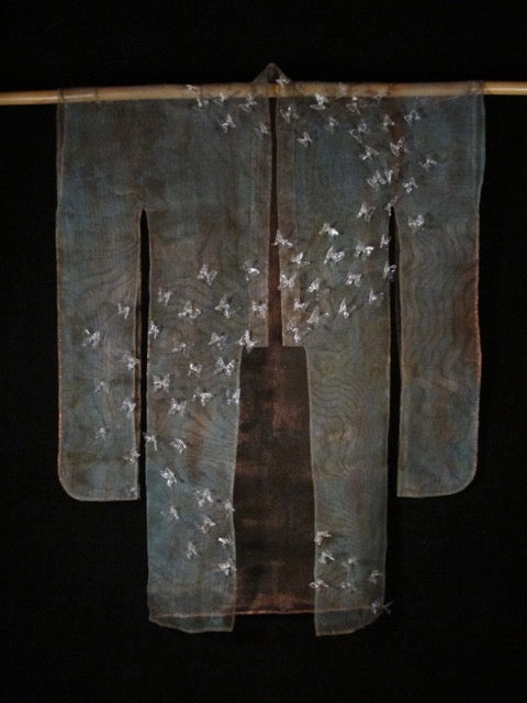 """Remember When"".  A lameworked soft glass & copper mesh Kimono."
