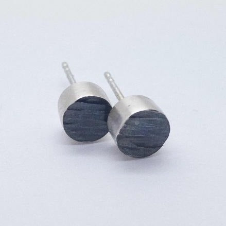 Stud Earrings - Ripple Collection  Handmade with sterling silver and oxidized