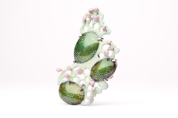 Rococo Clover Drop Brooch in sterling silver and copper with enamel by Lillian Yuen.