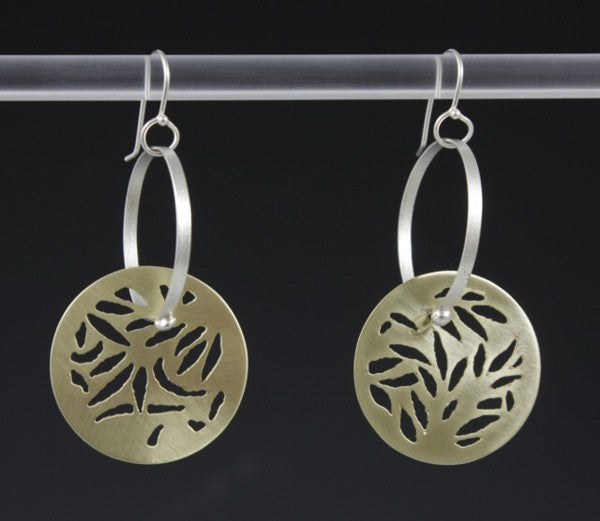 Pierced Brass with Hoops Earrings by Sandra Noble Goss