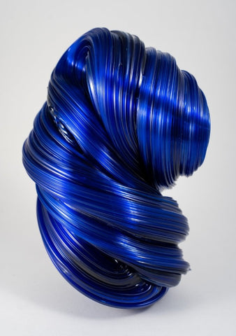 Blue Silk Sculpture.  The largest sculpture the artist has yet made at 22 x 15 x 12 cm. You feel the tidal pull of this glass sculpture as it rises and twists.