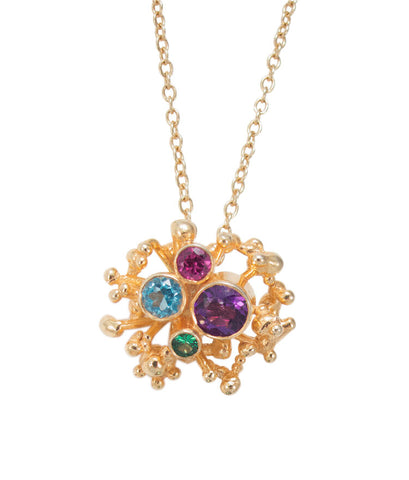 "Tides Pendant  Silver, gold plated, 18"" gold fill chain, amethyst, blue topaz, chrome diopside and rhodalite garnet."