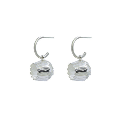 Tulip Earrings.  The hand cut sterling silver flower drops are suspended from hoops that can also be worn separately.  3 x 1.5 cm