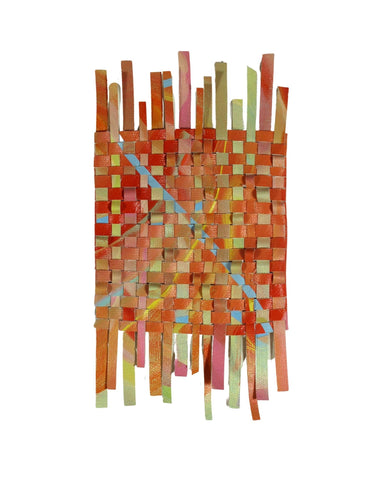 Woven Work 1. The artist has meticulously hand-cut and woven her own acrylic on canvas paintings. Framed, 8 by 10 in, Woven Work 1 introduces a geometric and abstract patterns.
