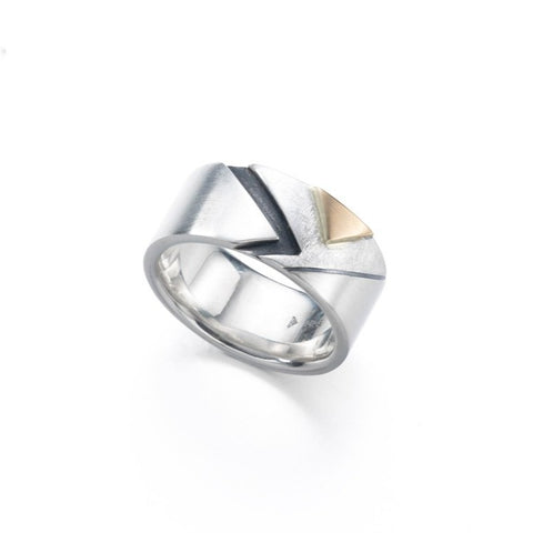 Wide band ring in polished sterling silver with oxidized and 18k details