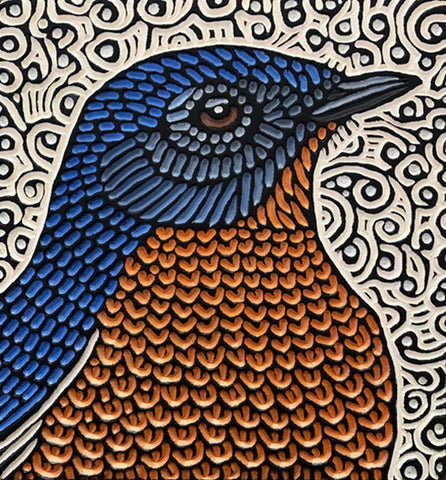 "Bluebird painted woodcut block  11"" x 12"""
