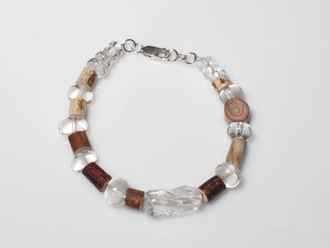 Collection: Together We Grow - Earth & Fire Bracelet Flame worked soft glass, wood and sterling silver 2019