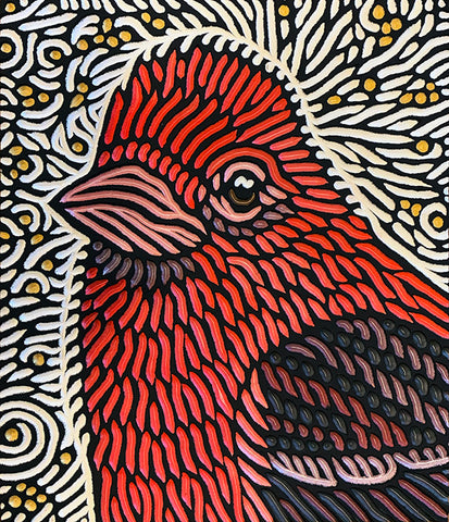"Finch painted woodcut block  10"" x 12"" $650"