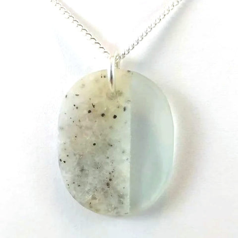 "Rock and glass pendant on 24"" sterling silver chain 1.5 x 1 x 0.25 inch"