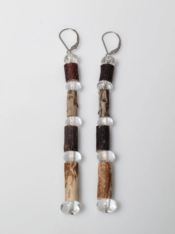 Collection: Together We Grow - Earth & Fire Earrings Flame worked soft glass, wood and sterling silver 2019