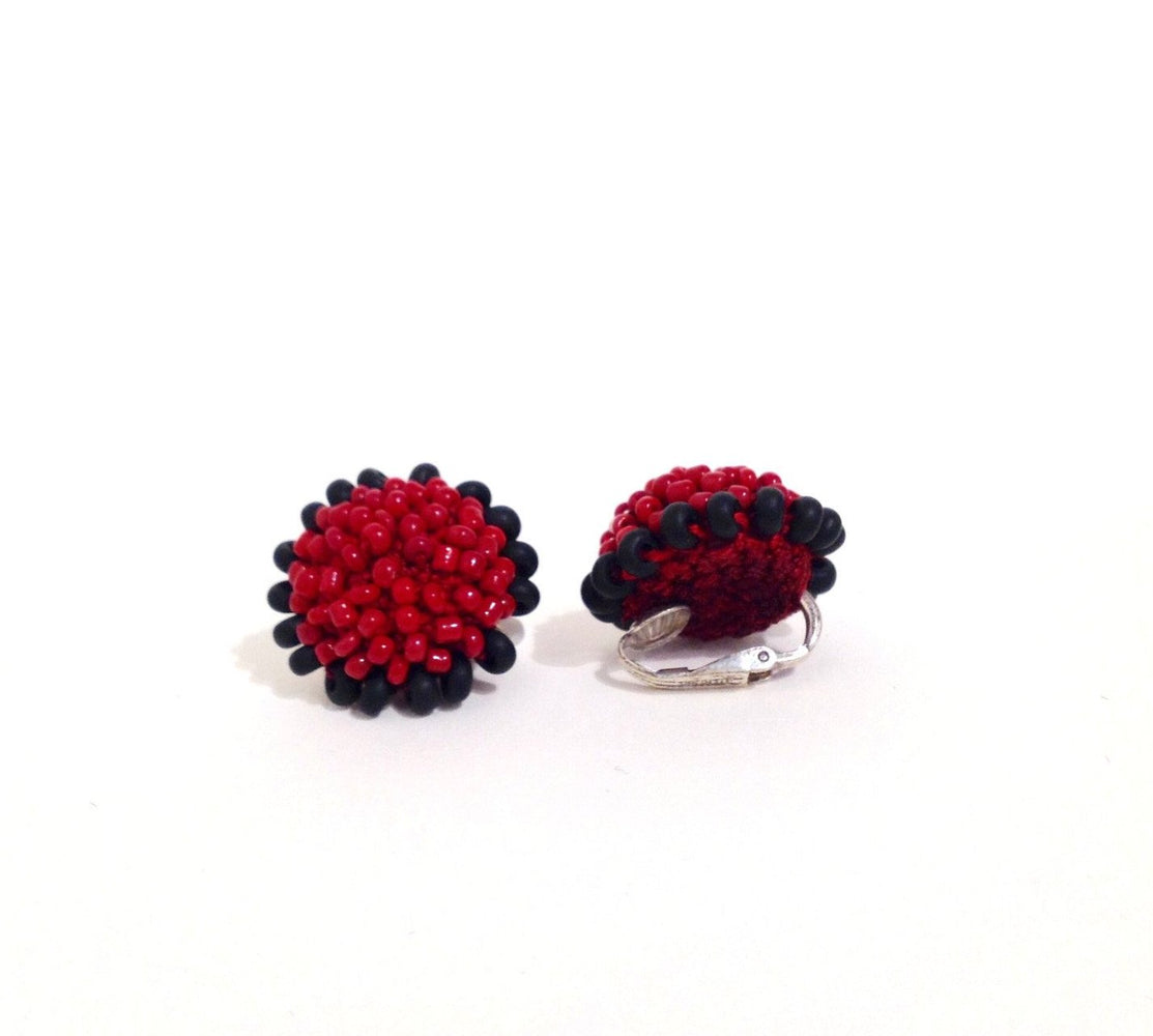 Red and Black Flower Clip-on Earrings by Yael Krakowski