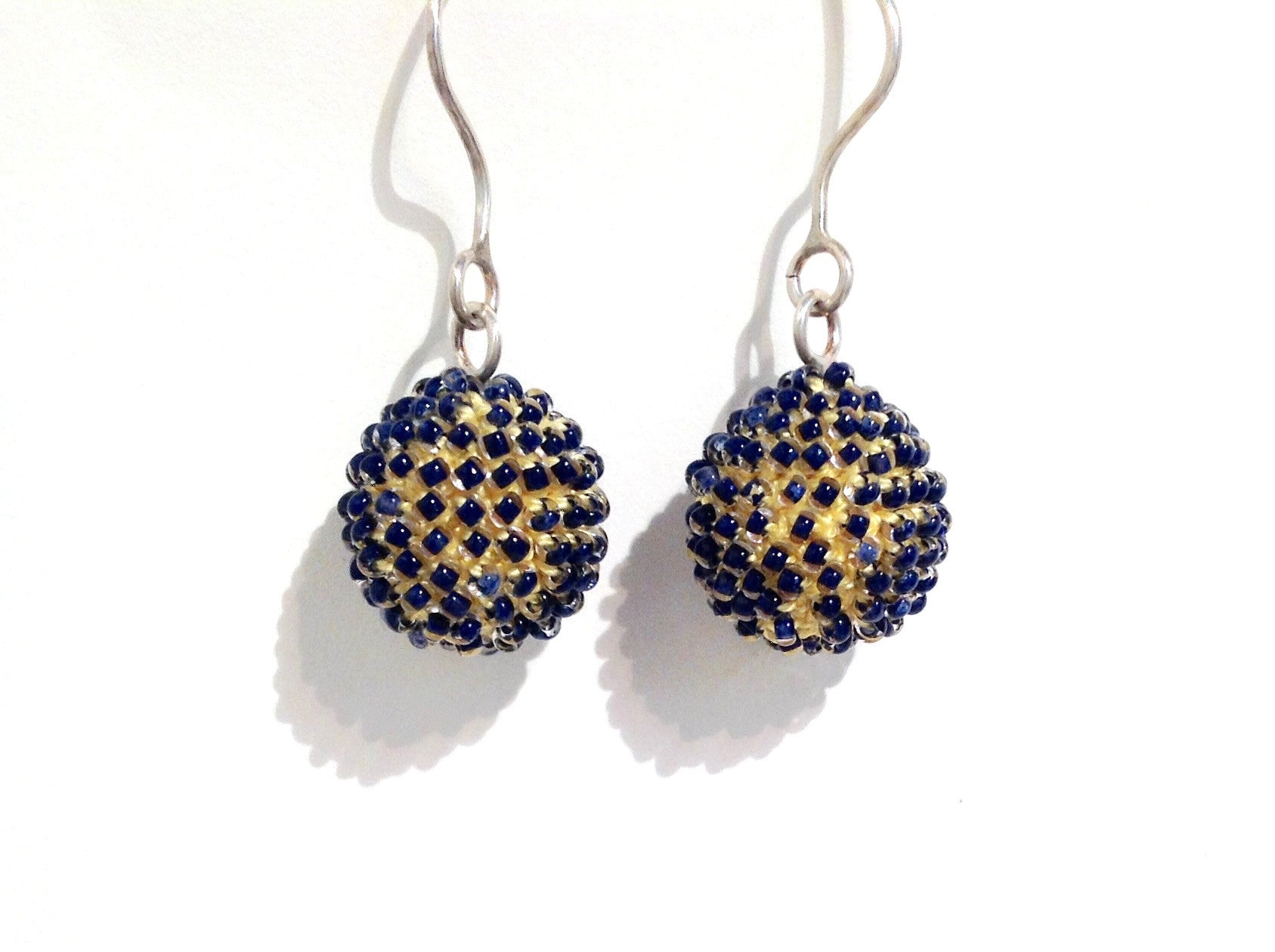 Short Petrol and Yellow Earrings by Yael Krakowski