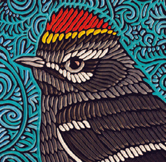 "Red crested Kinglet painted woodcut block  11.5"" x 11"" x 1.5"" deep"