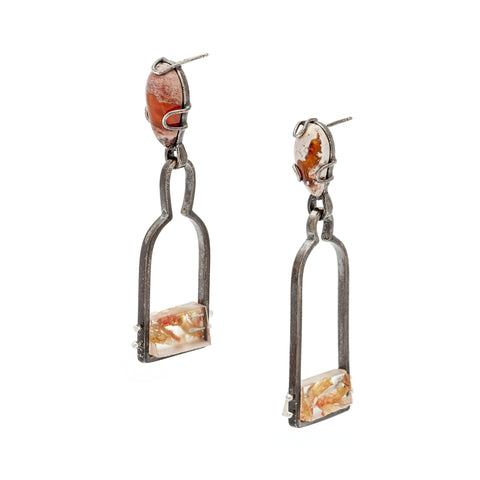 Drop earrings in oxidized sterling silver with fire opals, freshwater pearls and shrimp.