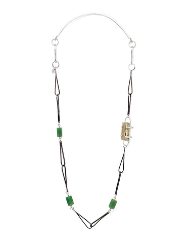 Long necklace in sterling silver with jade, and matcha in resin.