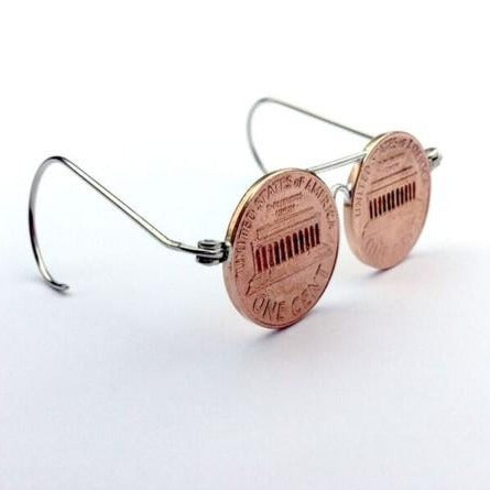 Lincoln Penny Glasses made from American coins and altered jewellery findings by Micah Adams