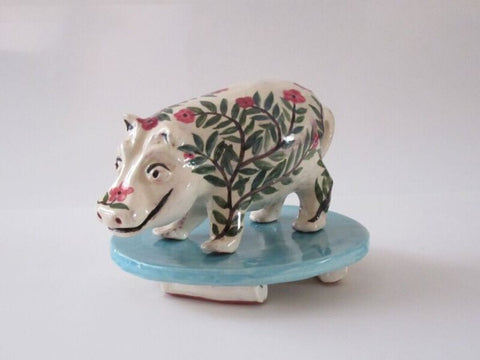 Hippo from Happy Wild Animals series in glazed red earthenware clay by Mimi Cabri.