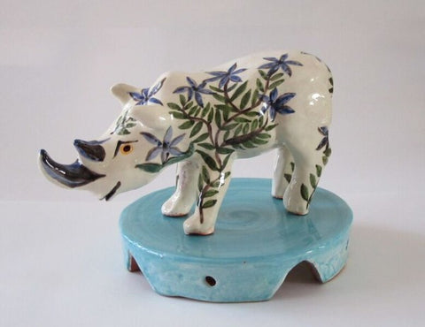 Rhino from Happy Wild Animals series in glazed red earthenware clay.