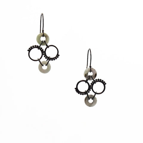 Stone Chainmaille Earrings, oxidised sterling silver with hand- carved found stone.