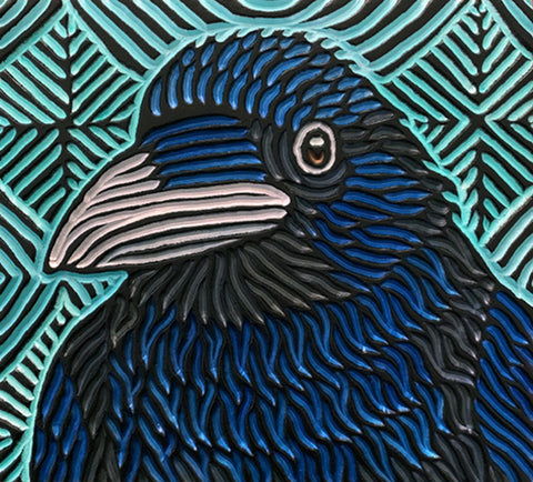 "Blue Raven, painted woodcut block  11"" x 10"""
