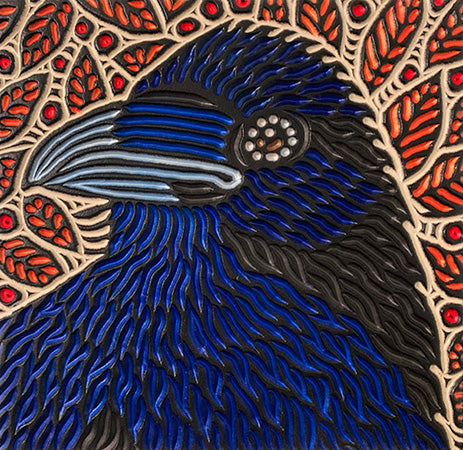 "Raven, painted woodcut block  11"" x 11"""