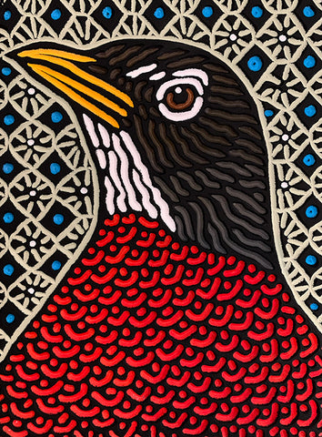 "Tall Robin painted woodcut block 8"" x 11"""