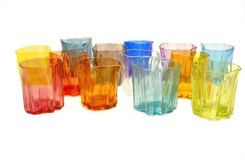 The small Xylem Series hand blown glass tumblers is a perfect wine cup at 8 x 7 cm in a variety of rich and refreshing colours.  Each sold separately.