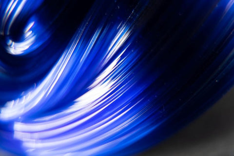 detail of blue glass sculpture