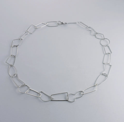 sterling silver handmade 'puzzle link' necklace.  20 in. long.