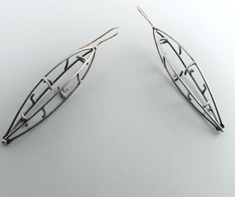 Sterling silver pod earrings