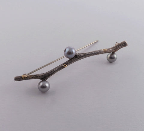 sterling silver twig brooch with grey pearls+gold detail. 2.75 in.