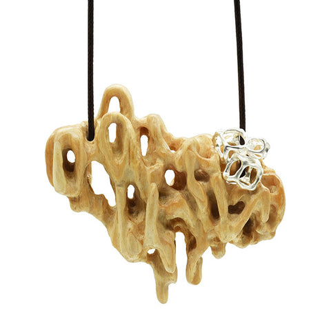 Pop, Necklace with Pine, sterling silver, wax cord by Ho Ching Chan.