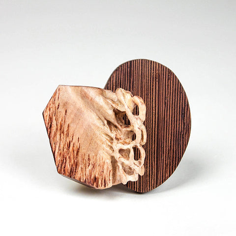 Transformation, Brooch Maple wood and found wood, sterling silver, steel pin.