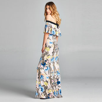 Pastel Floral Off-Shoulder Maxi Dress