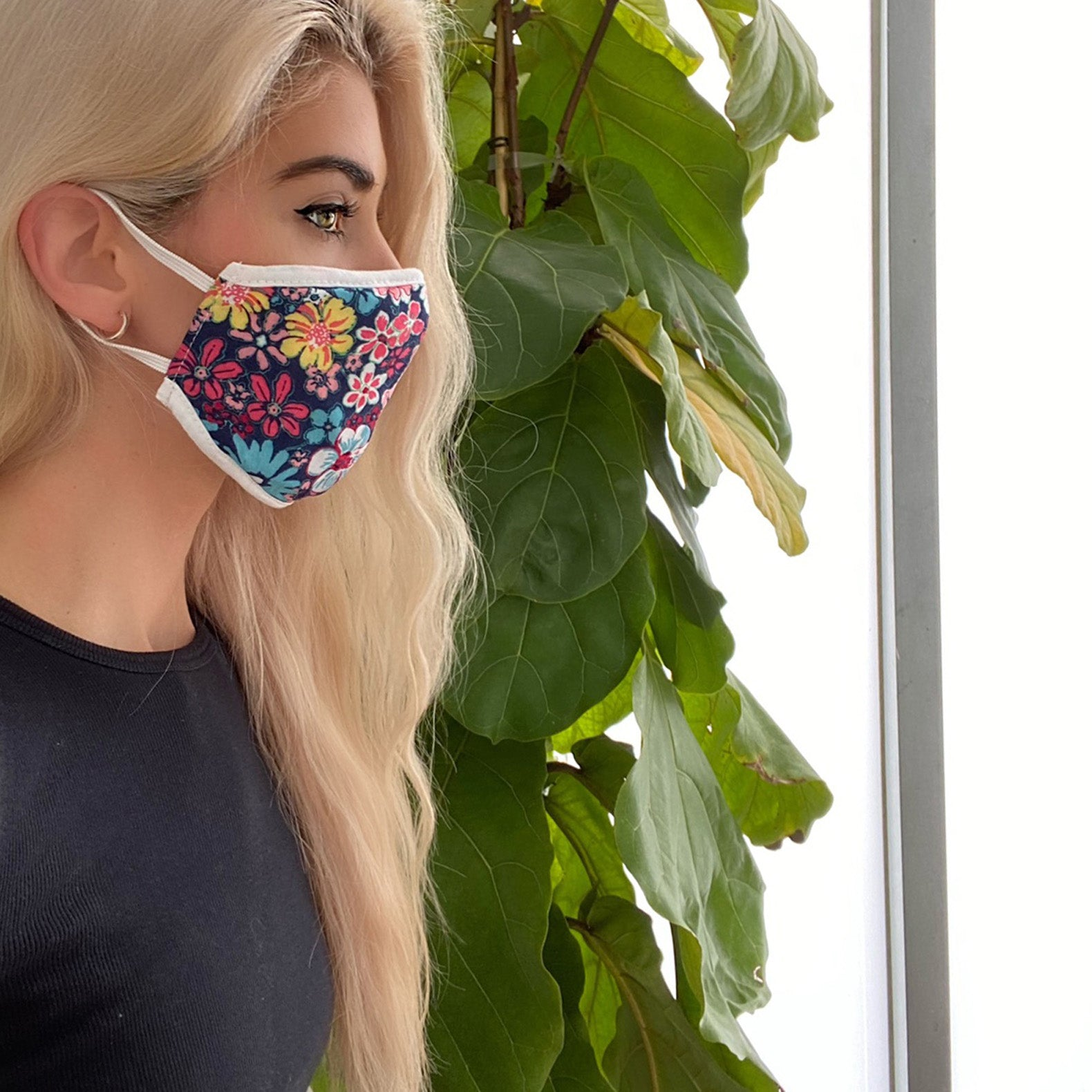 Floral Print 3 Layer Woven/Cotton Mask - Love, Kuza