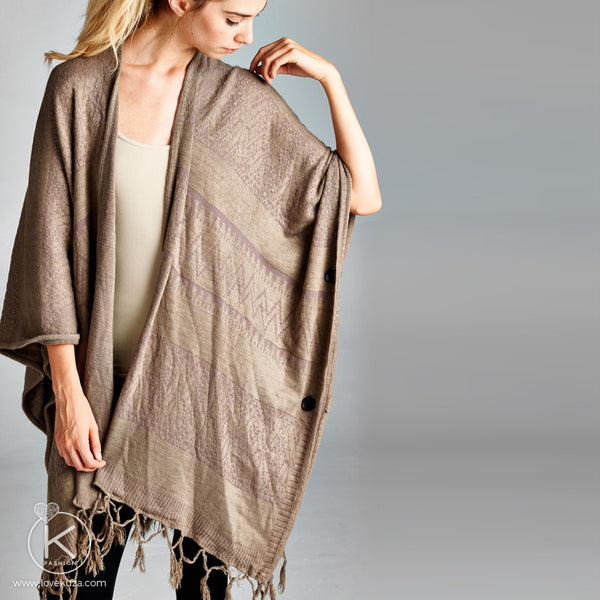 Oversized Tasseled Button Poncho - Love, Kuza