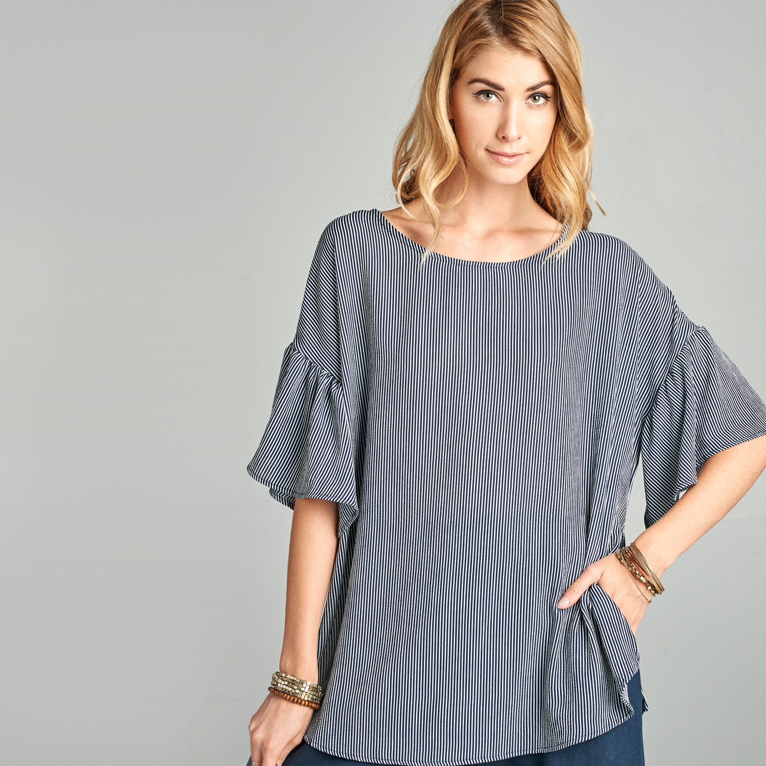 Relaxed Fit Striped Bell Sleeve Top