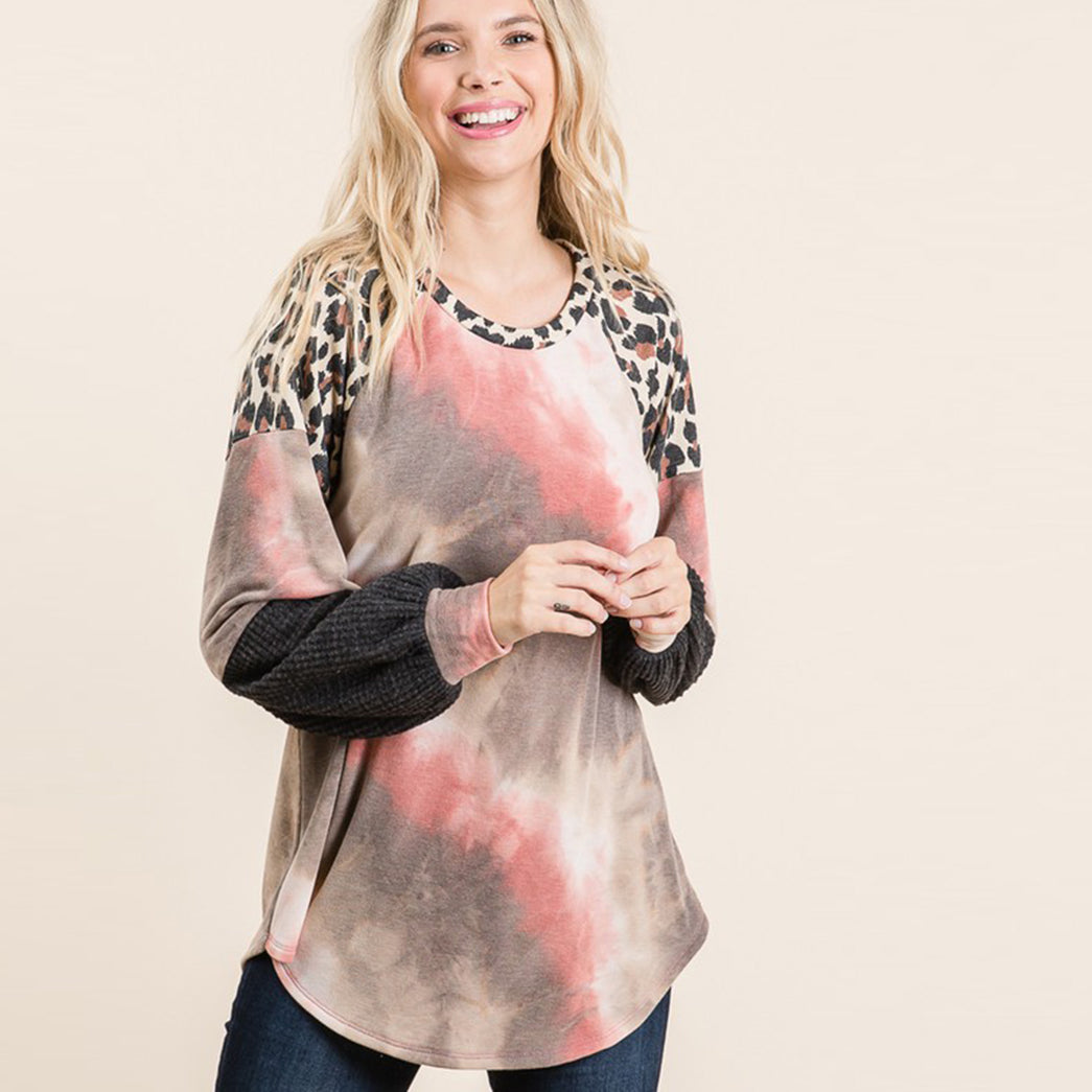 Tie Dye Color Block Sweater