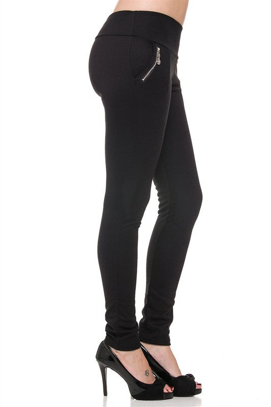 Solid Ponte Zipper Pockets Skinny Pants