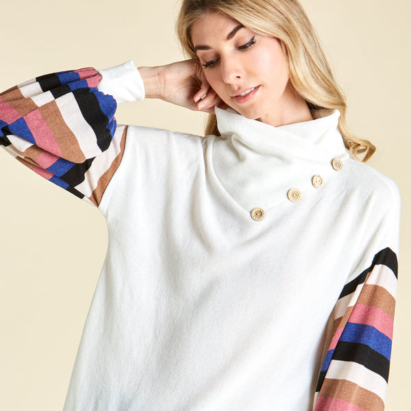 Cool Stripe Bishop Sleeve Sweater