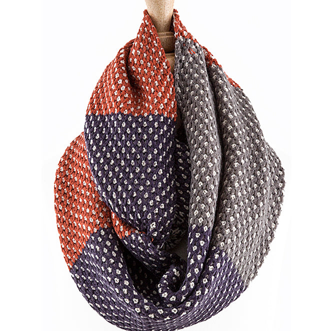 Knitted Colorblock Infinity Scarf - Love, Kuza